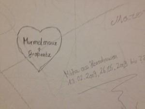 Haftzelle Graffittis