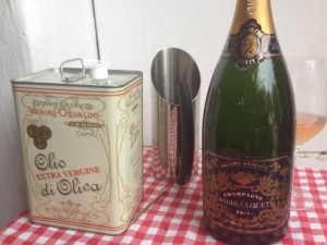 Olivenöl und Champagner