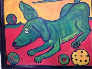 gemalter Hund mit Ball