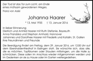 Johanna Todesanzeige